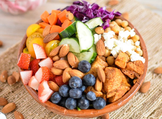 chicken nut fruit bowl