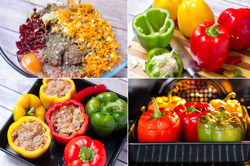 Pork mince stuffed capsicum - step by step photoros