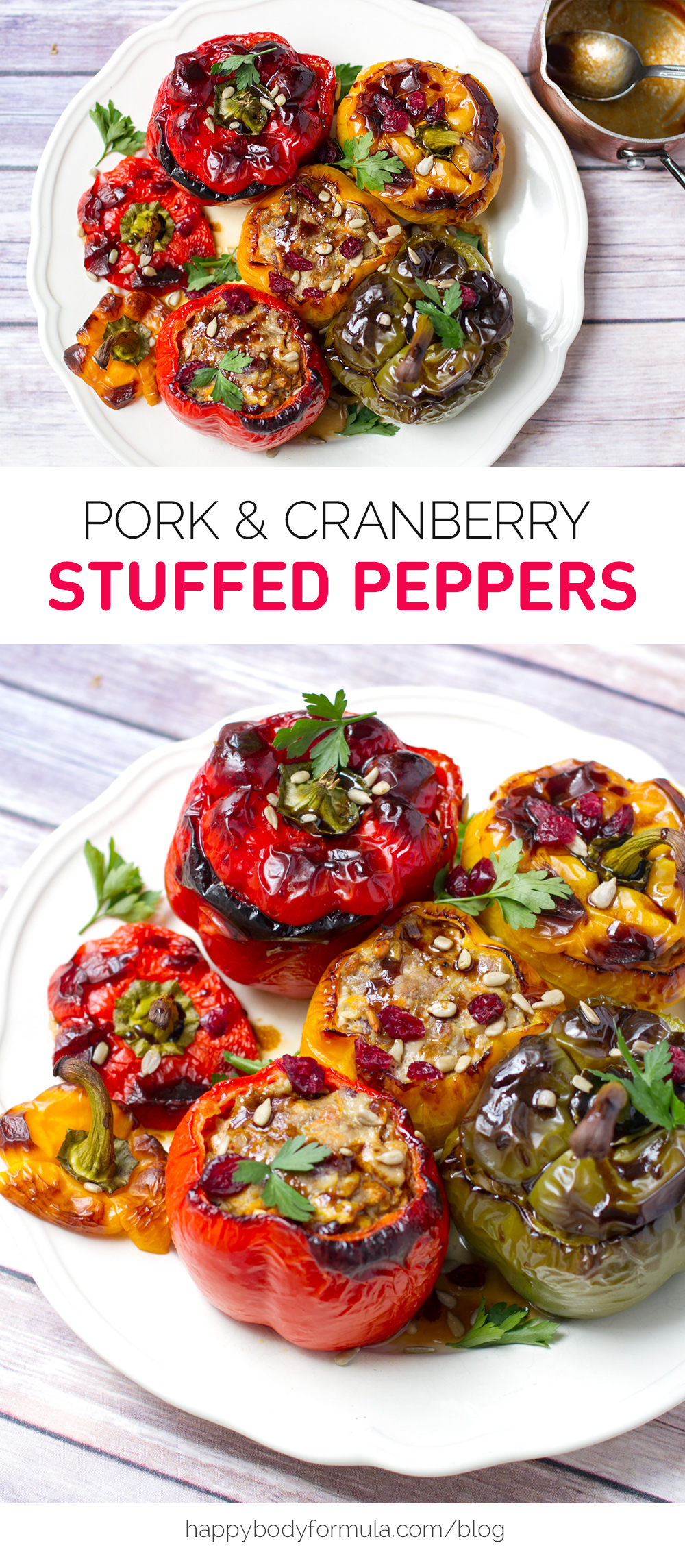 Pork & Cranberry Stuffed Peppers - grain free, paleo friendly, high protein recipe.