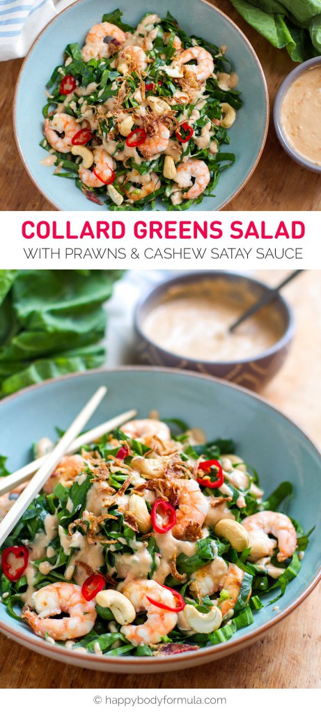 Prawn & Collard Greens Salad with Cashew Satay Sauce (dairy-free, gluten-free, paleo friendly recipe)