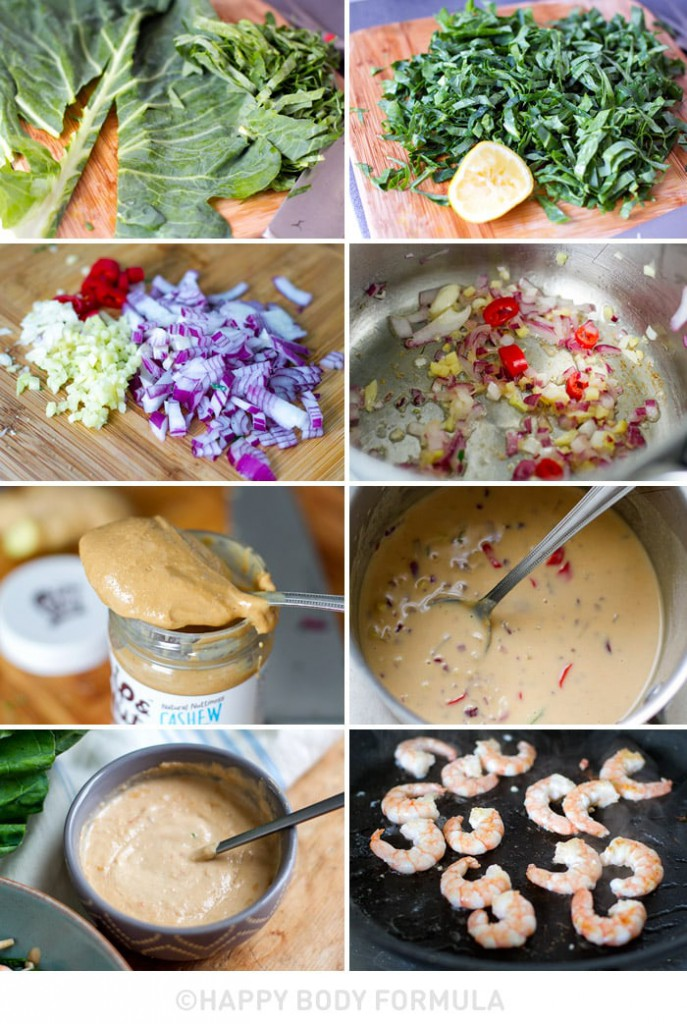 Prawn & Collard Greens Salad with Cashew Satay Sauce