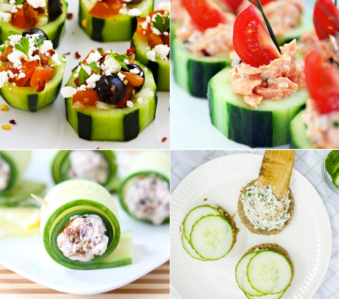Cucumber appetizers and canapes