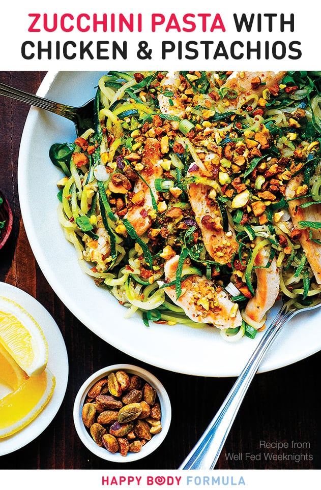 Zucchini Pasta With Chicken & Pistachios (Paleo, Gluten-free, Low-Carb)