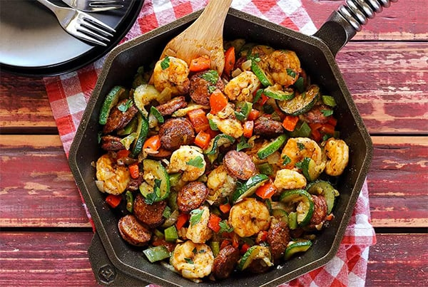 One-Skilet Shrimp & Sausage Meal