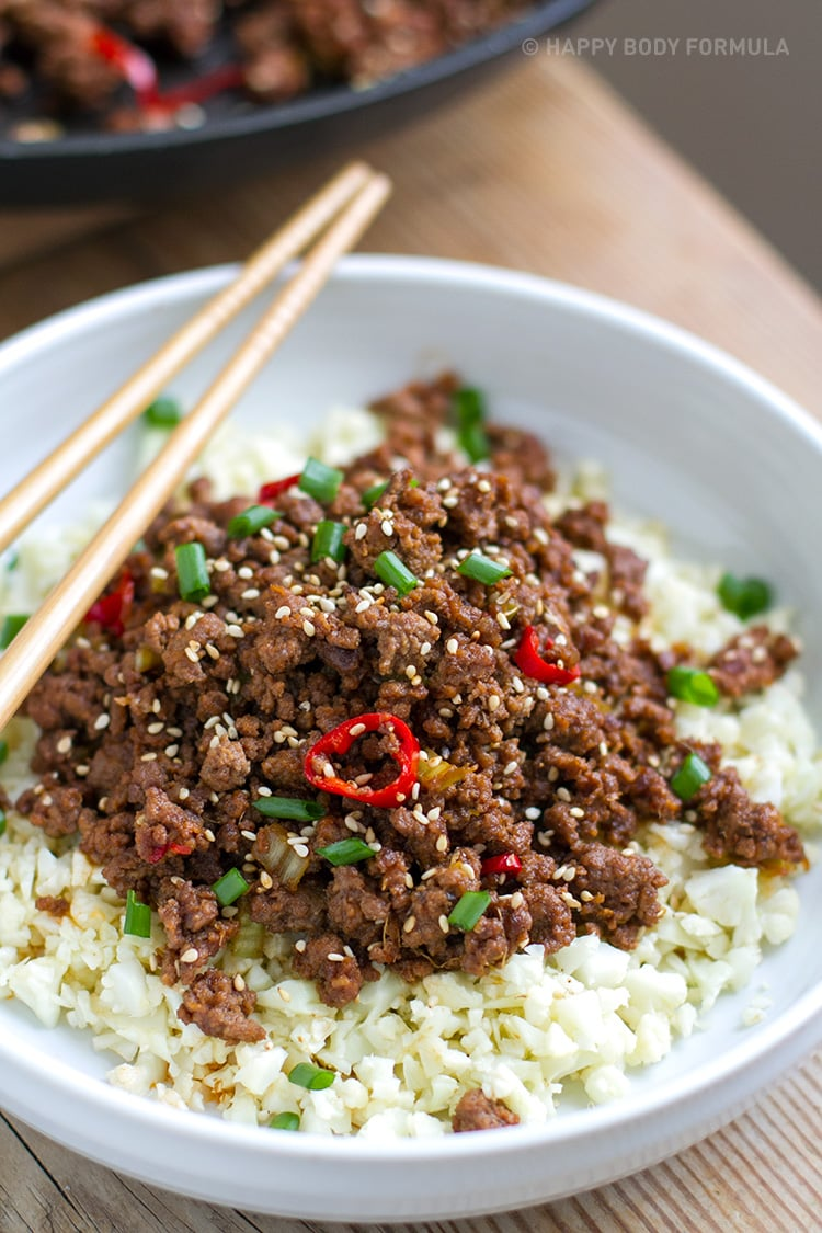 Low-carb Korean beef with cauliflower rice