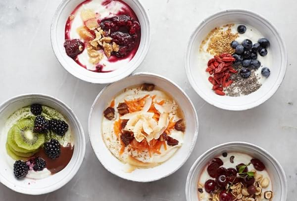 Breakfast yogurt bowls