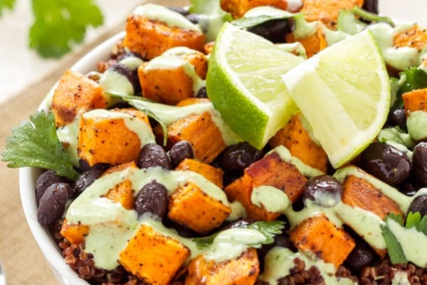 Sweet potato & black bean quinoa bowls