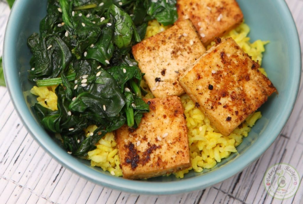 SPINACH TOFU WITH TURMERIC RICE
