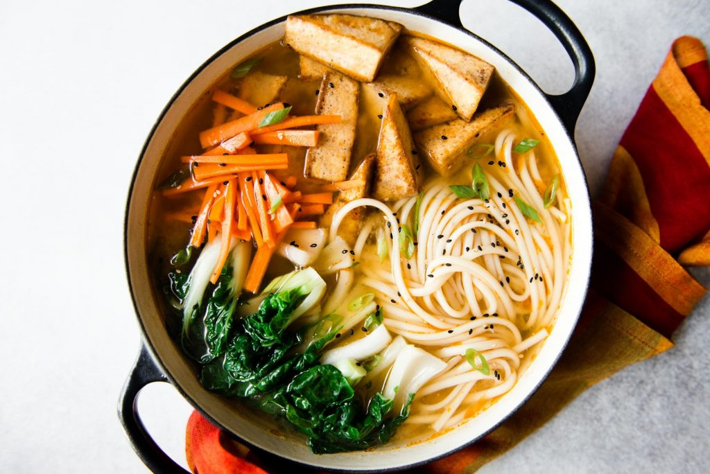 GINGER MISO UDON NOODLES WITH FIVE-SPICE TOFU