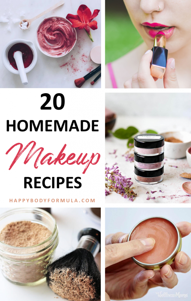 20 Natural Makeup Recipes: How to Make Your Own Homemade Makeup | HappyBodyFormula.com