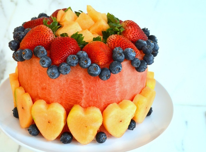 WATERMELON CAKE MADE OUT OF REAL FRUIT
