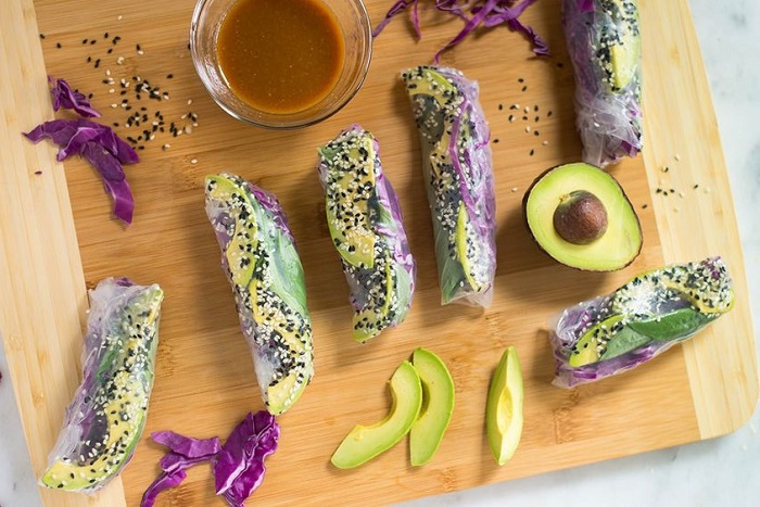 SESAME AVOCADO AND CABBAGE SPRING ROLLS