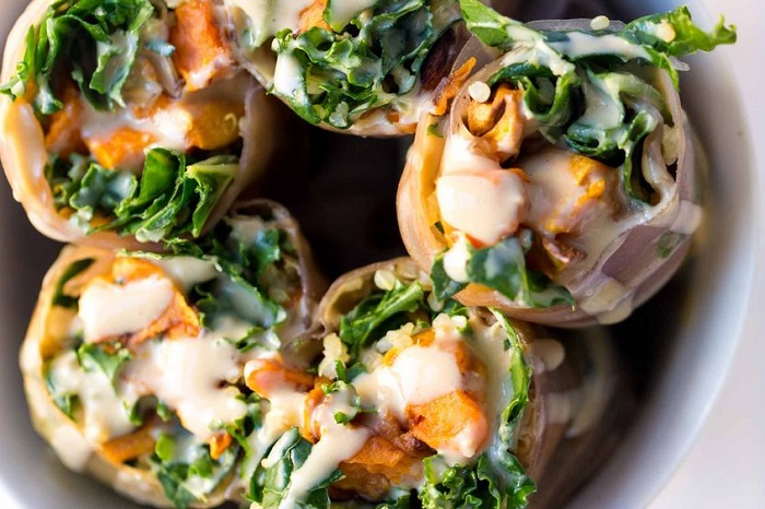 SWEET POTATO, KALE AND QUINOA SPRING ROLLS