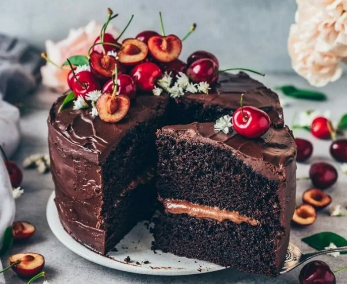 CHERRY-TOPPED VEGAN CHOCOLATE CAKE